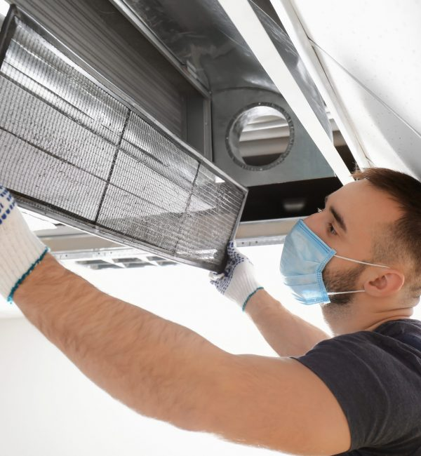 Male,Technician,Cleaning,Industrial,Air,Conditioner,Indoors